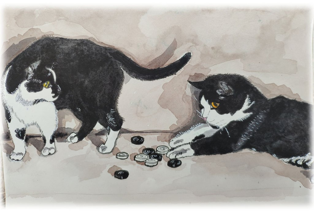 Two Cats Playing Watercolor Painting