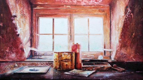 Window Light Watercolour Painting by David Poxon