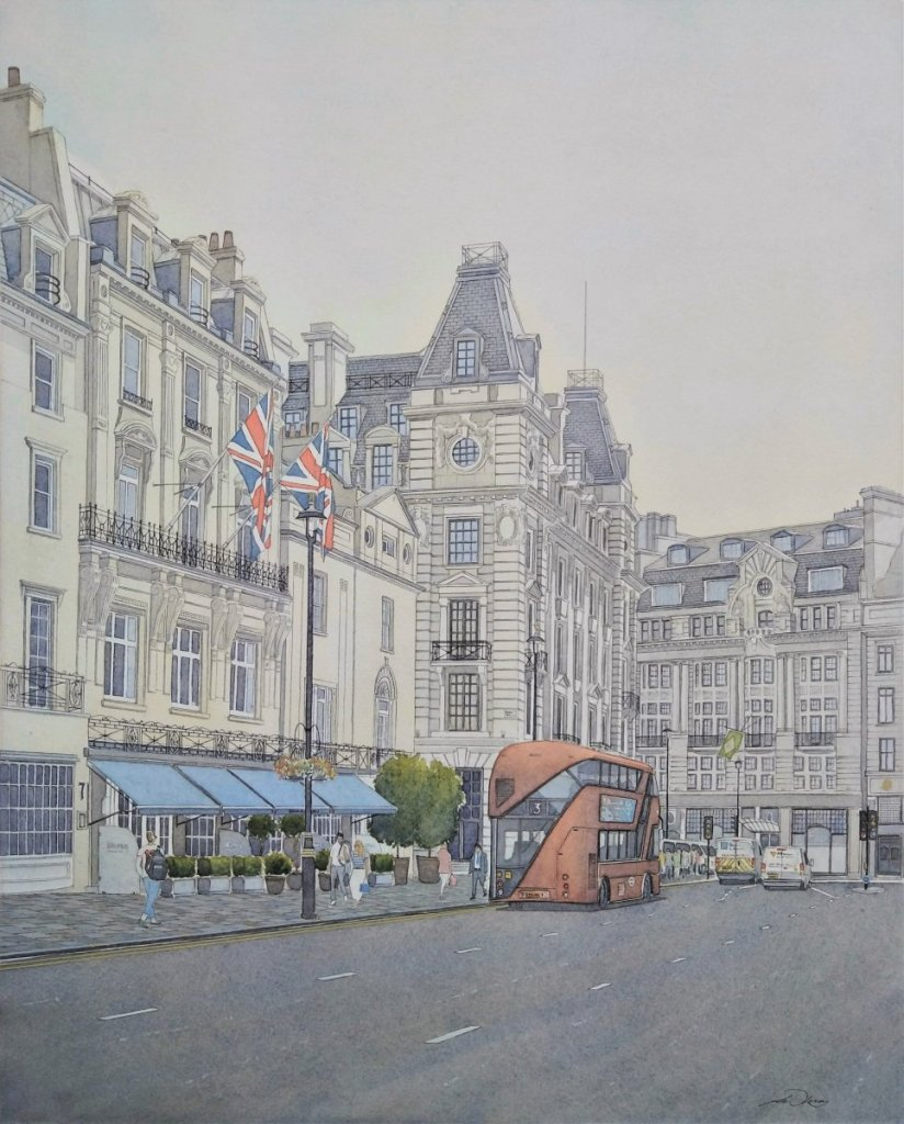 "\"" Union Jacks \"", Haymarket, London. Andrew Lucas Watercolour, 50 x 40 cm, I hope you e"