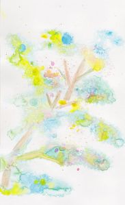 I saw leaves of a tree and added some branches to the painting. I did this random experiment with wa