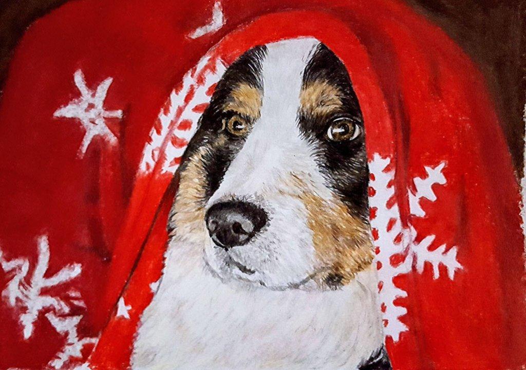 Dog Under Blanket Watercolor Painting Judy Jones