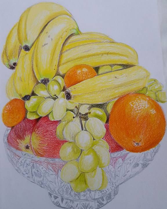 Mixed Fruit in Bowl Watercolor Painting
