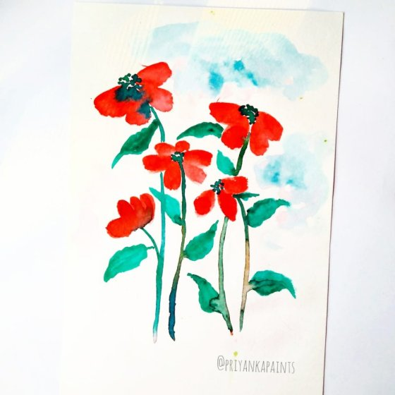 red florals watercolor Priyanka Sharma
