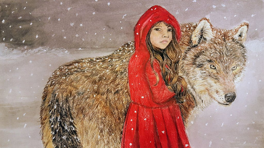 Little Red Riding Hood And Wolf Watercolor Pencil Painting by Judy Jones