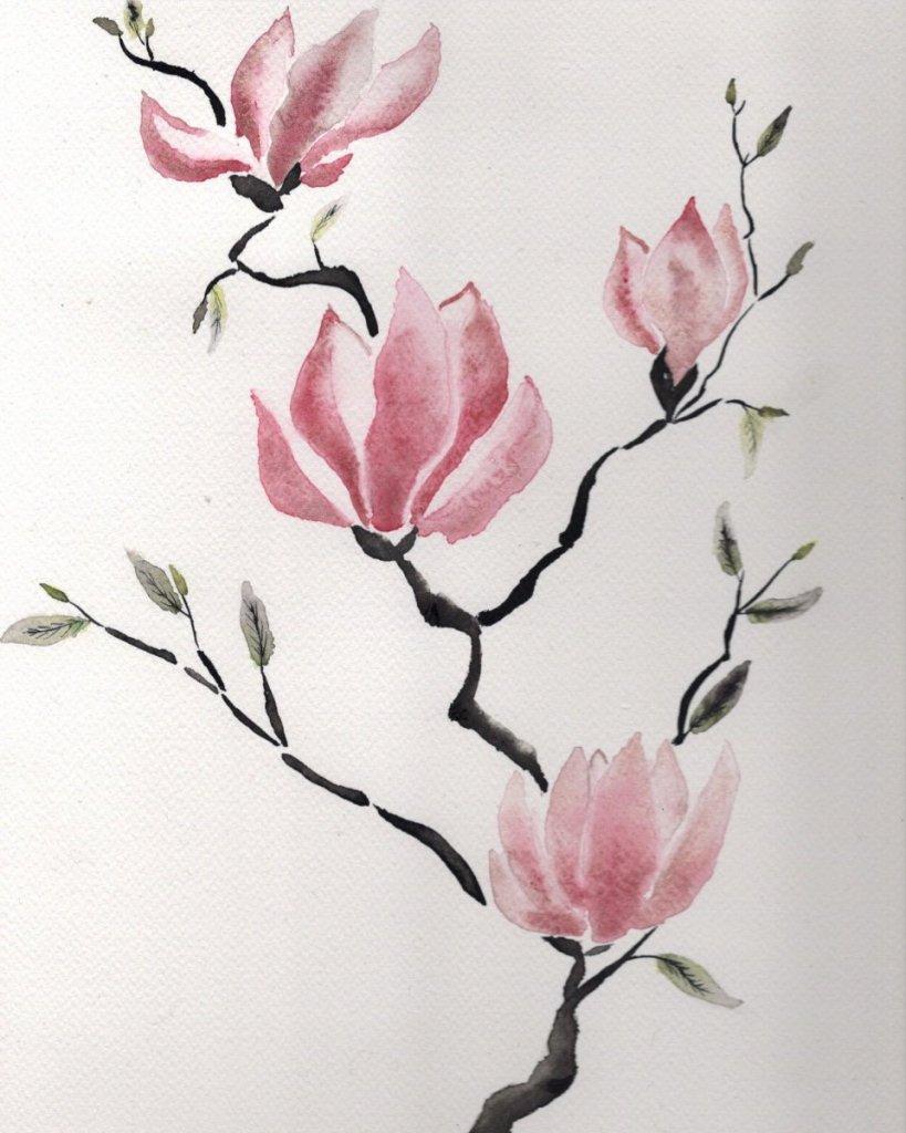Magnolias, now flowering in Lyon, in Sumi-e style 190ABB88-1335-4EDA-B5C3-71061581CA6B