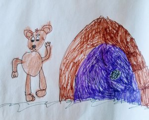 This bear is just coming out of hibernation. It was done by my 7 yr old grandson who wants to learn