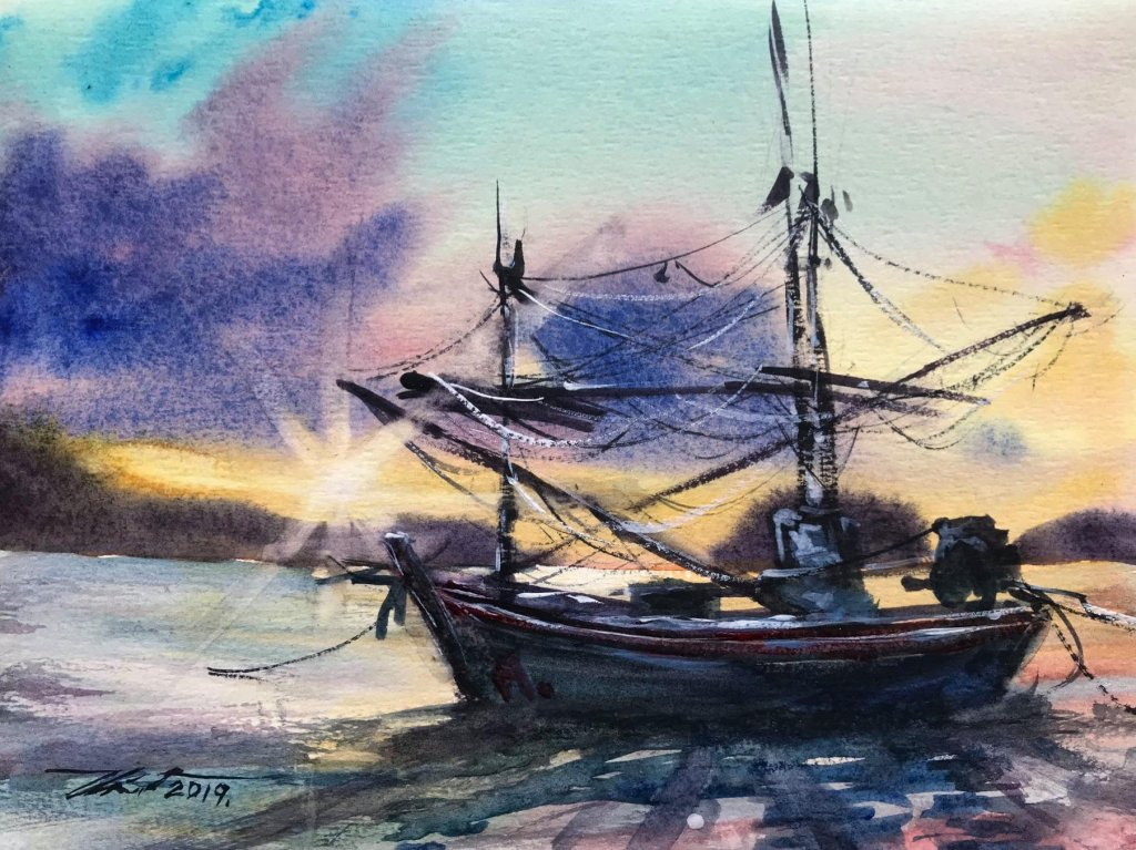 Name : A boat at sunset. Technique : W&N cotman on 100% cotton paper . Size : 23cm. x 31cm. Arti