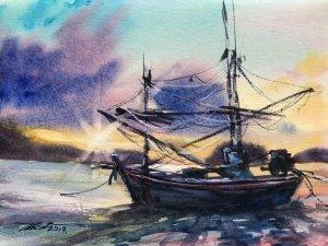 Name : A boat at sunset. Technique : W&N cotman on 100% cotton paper . Size : 23cm. x 31cm. Arti
