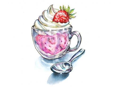 Strawberry Ice Cream Whipped Cream Watercolor Painting