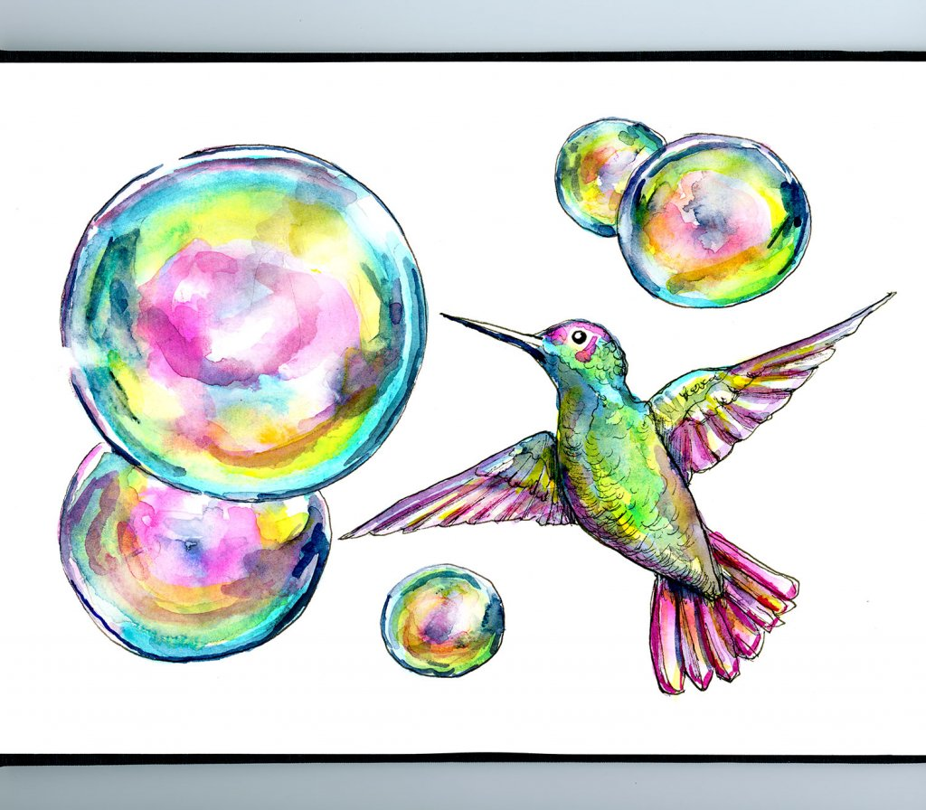 Hummingbird And Bubbles Watercolor Painting Sketchbook Detail