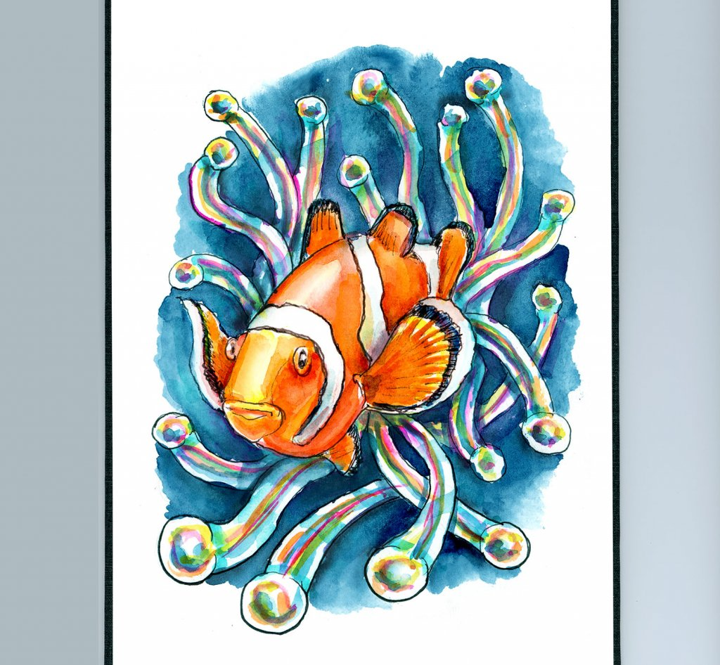 Clownfish and Sea Anemone Watercolor Painting Sketchbook Detail
