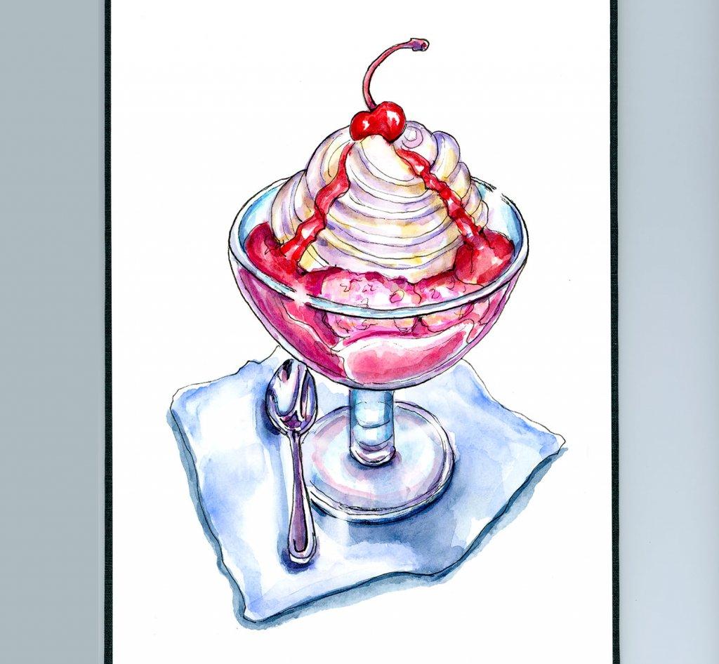 Ice Cream Sundae Watercolor Painting Sketchbook Detail