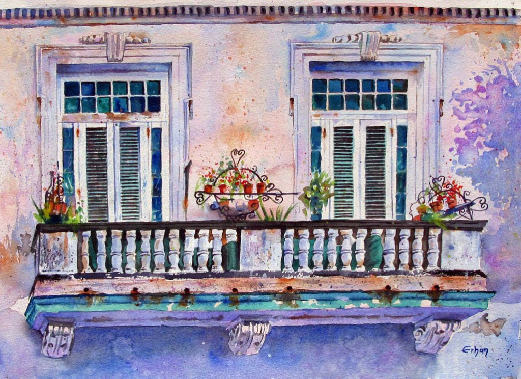 Balcony in Havana Watercolor Painting by Erhan Orhan