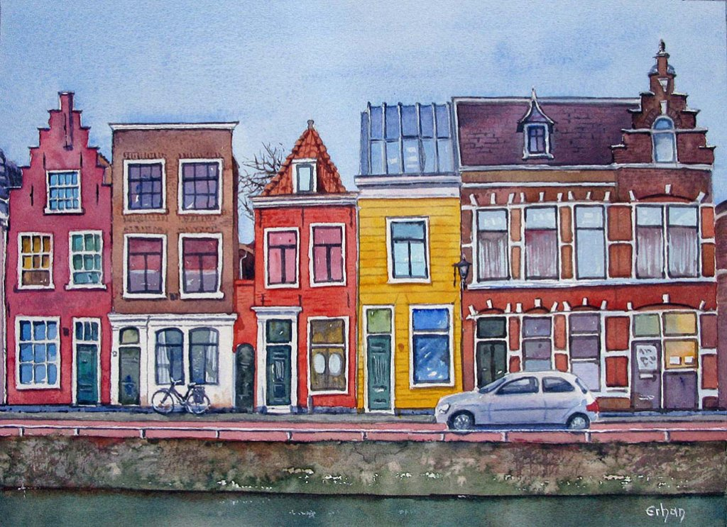 Historical Houses in Haarlem, Holland Watercolour Painting by Erhan Orhan