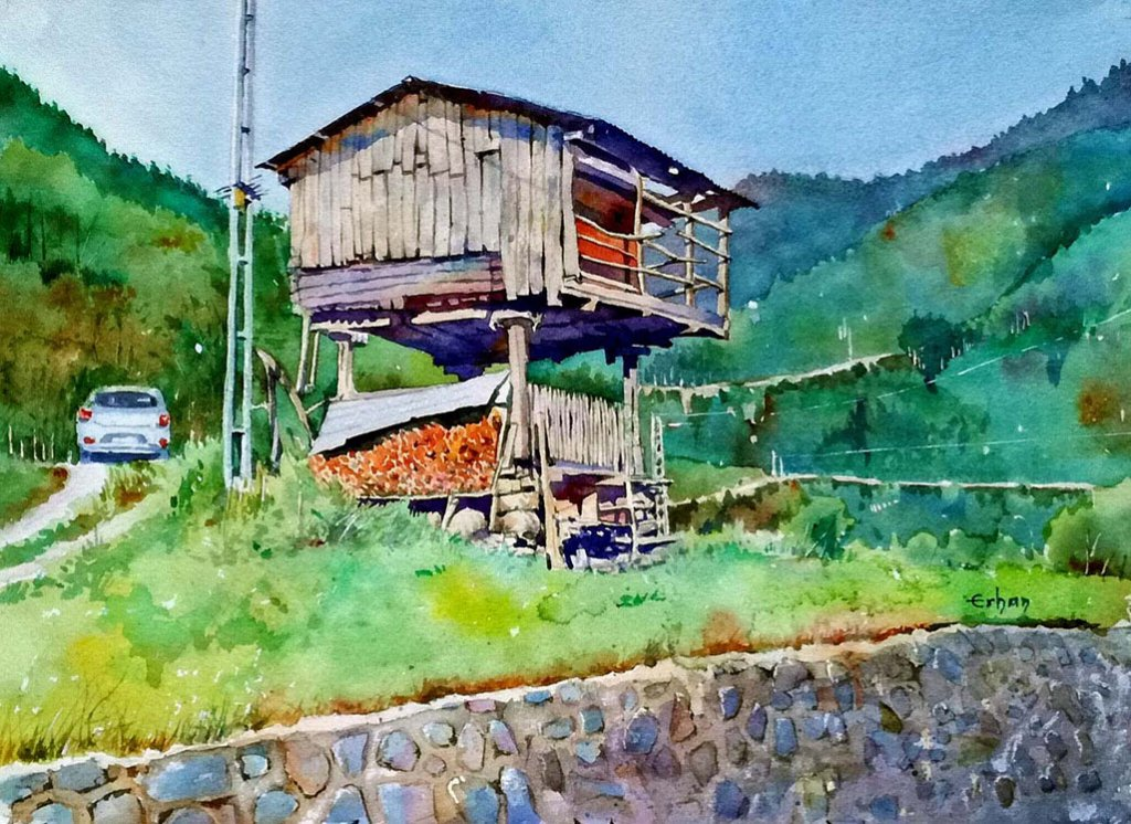 Mountain Cottage in Turkey Watercolor Painting