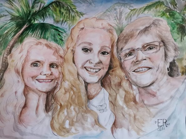 Family Portrait Generations Watercolor by Elise Richards