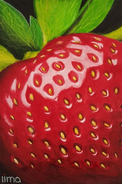 Hyperrealistic Watercolor Painting Strawberry by Nereida Lima