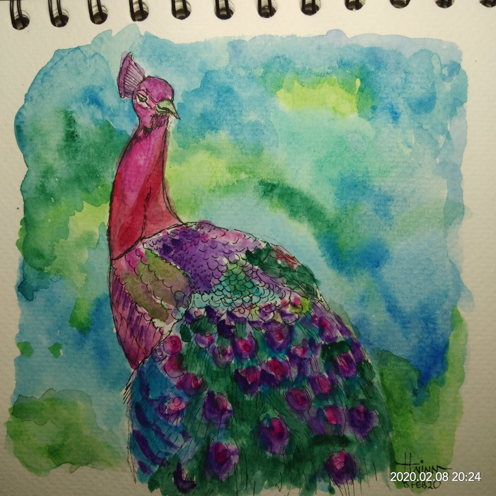 #doodlewashFebruary2020 #WorldWatercolorGroup #Beginner #8 #Peacock #8Feb2020 IMG_20200208_202449