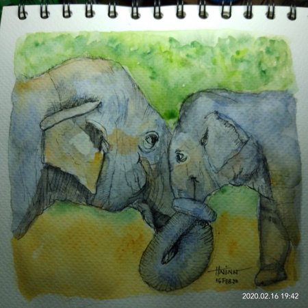 #doodlewashFebruary2020 #WorldWatercolorGroup #Beginner #14 to #15 #kisses(mother's love) #ref