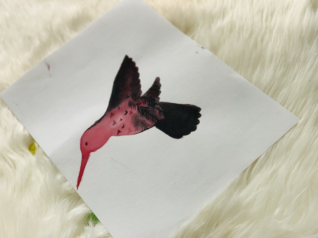 The soul becomes dyed with the color of its thoughts. humming bird fills the colors with maroon red