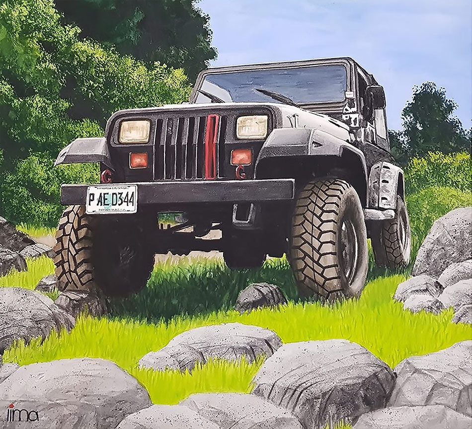 Jeep Car Low View Watercolor Painting by Nereida Lima