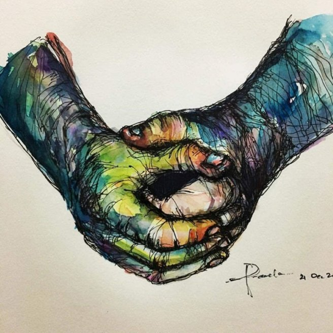 Original_Pen and Ink Hands Clasped