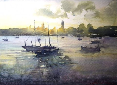 Pamela Lagrosa Original_Dusk Watercolor Painting
