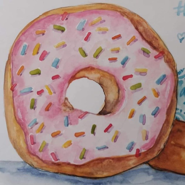 Pink Donut With Sprinkles Watercolor by Elise Richards