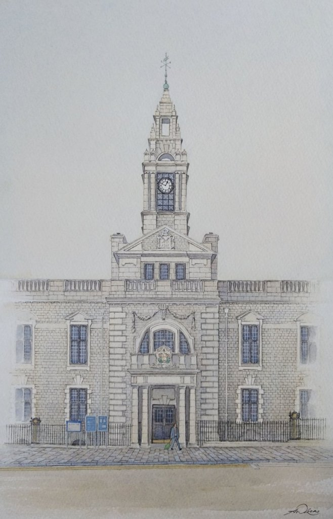 """ The Town Hall "", Torquay, England. Andrew Lucas Watercolour, 36 x 24 cm, I hope you en"