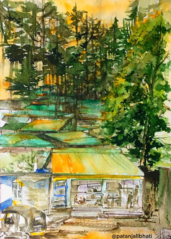 Trees Watercolor Painting Patanjali Bhati