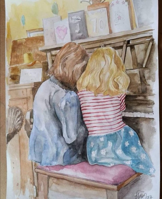 Two Girls Playing Piano Watercolor Painting