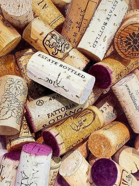 Wine Corks Multiple Watercolor Painting Hyperrealism Nereida Lima