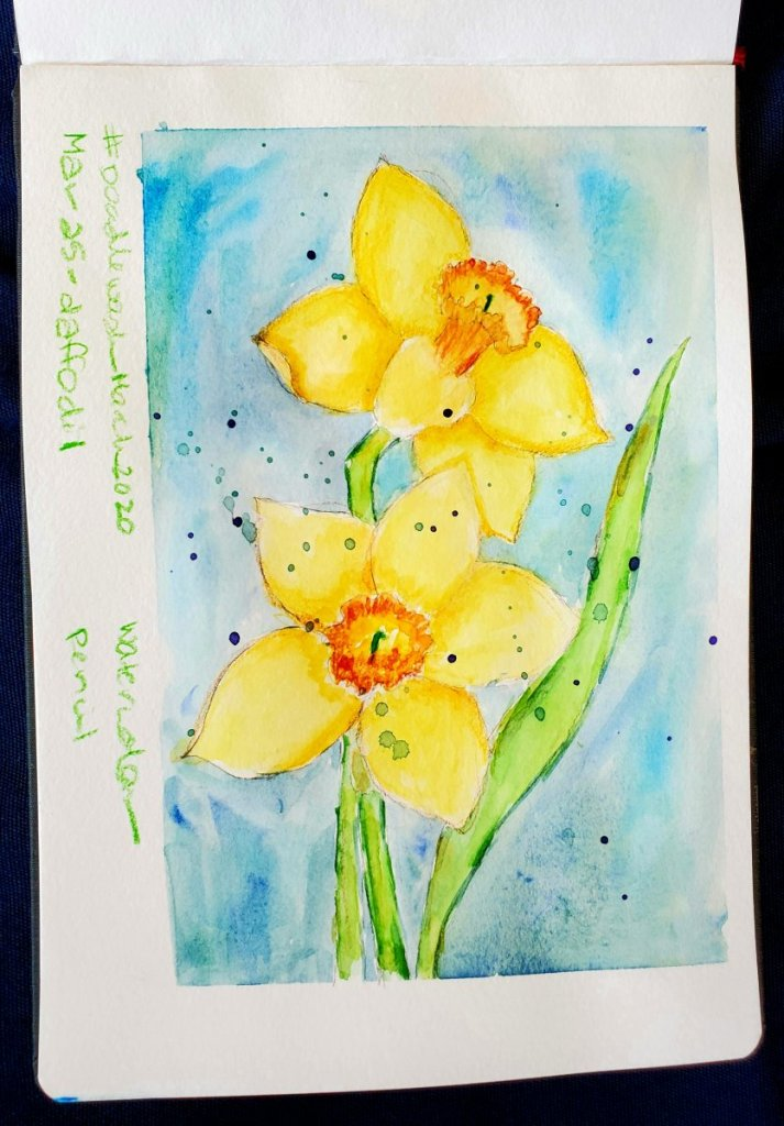 #DoodlewashMarch2020 #Doodlewash #worldwatercolorgroup March 25 – Daffodil 2020-03.25-daffodil