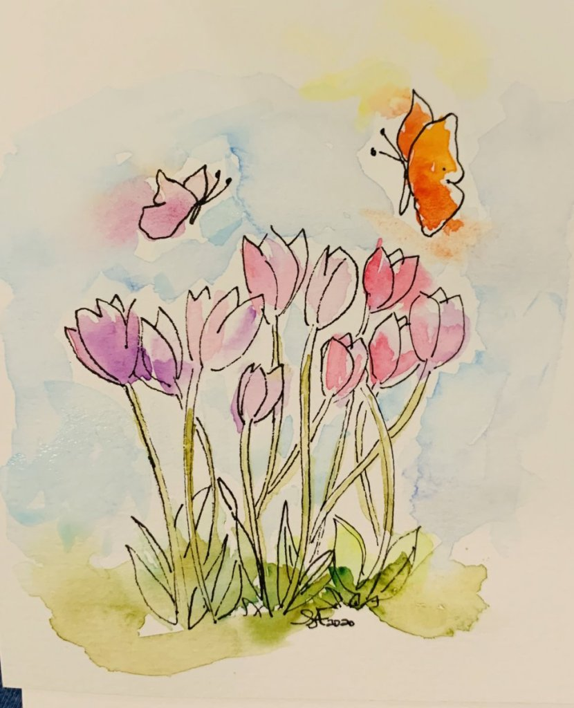 Tulips and butterflies!. Micador on mixed media 5C1878A8-6071-4839-AB5B-17263DA8B964