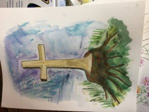A few paintings for Easter ,First cross From the tree to a cross. He is Risen , this is for my 90 ye