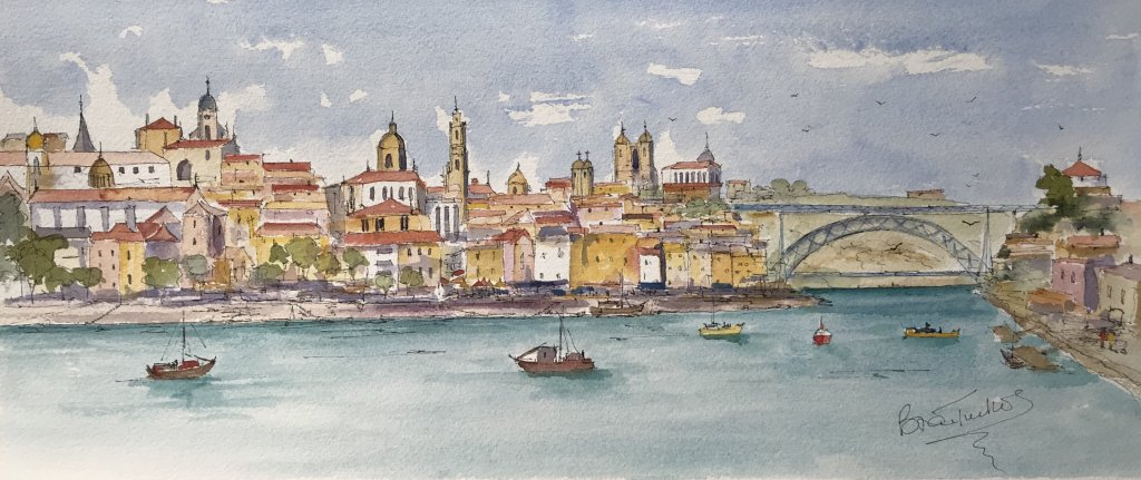 Some recent watercolours. Porto, Toronto skyline,Singapore skyline,The canal with seven Bridges in A