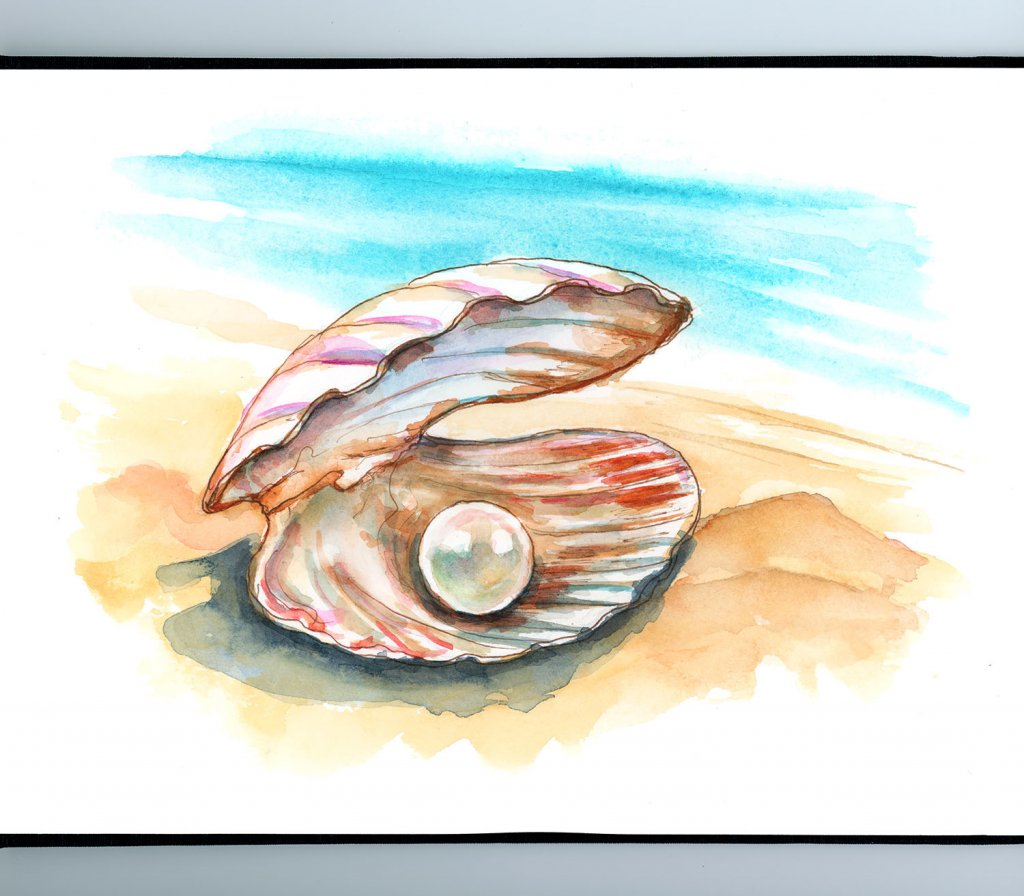 Pearl In Clam Shell Watercolor Painting Sketchbook Detail