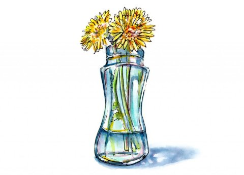 Dandelions In Vase Watercolor Painting