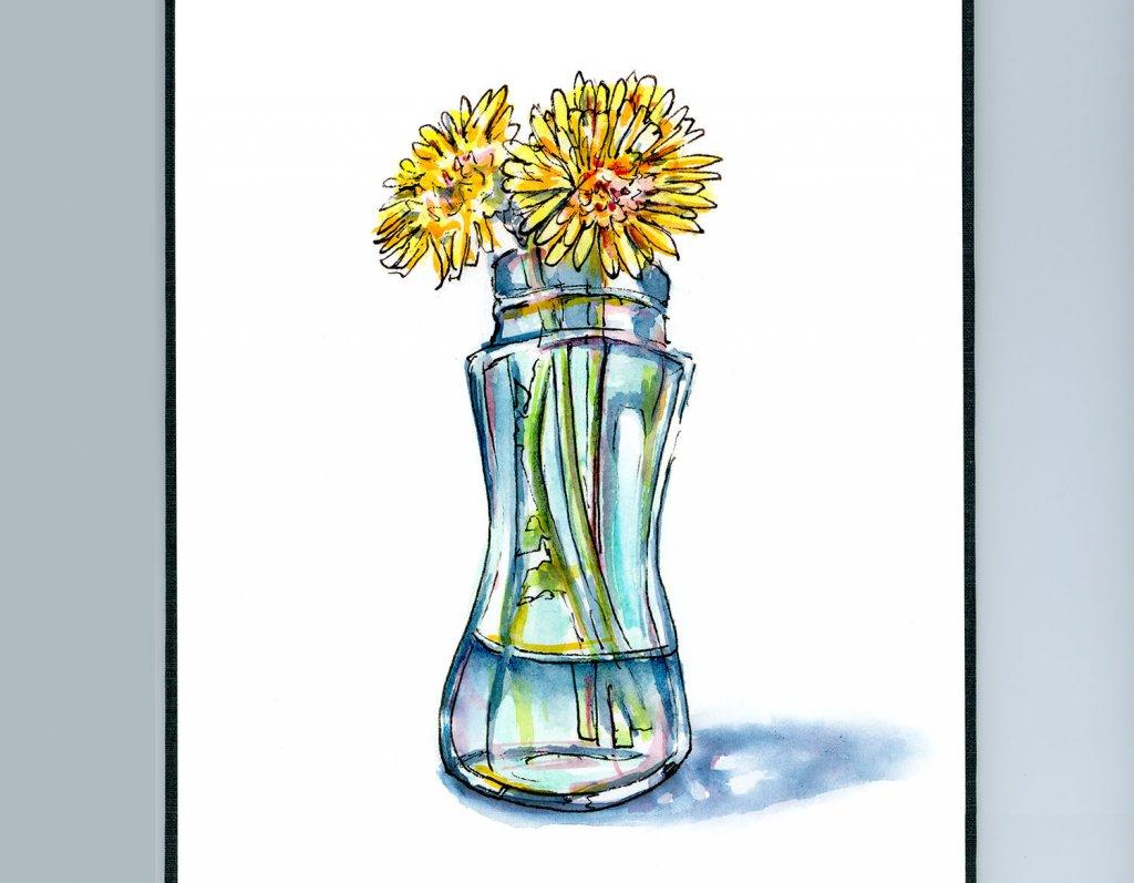 Dandelions In Vase Watercolor Painting Sketchbook Detail