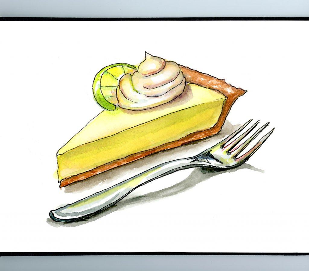 Key Lime Pie And Fork Watercolor Painting Sketchbook Detail
