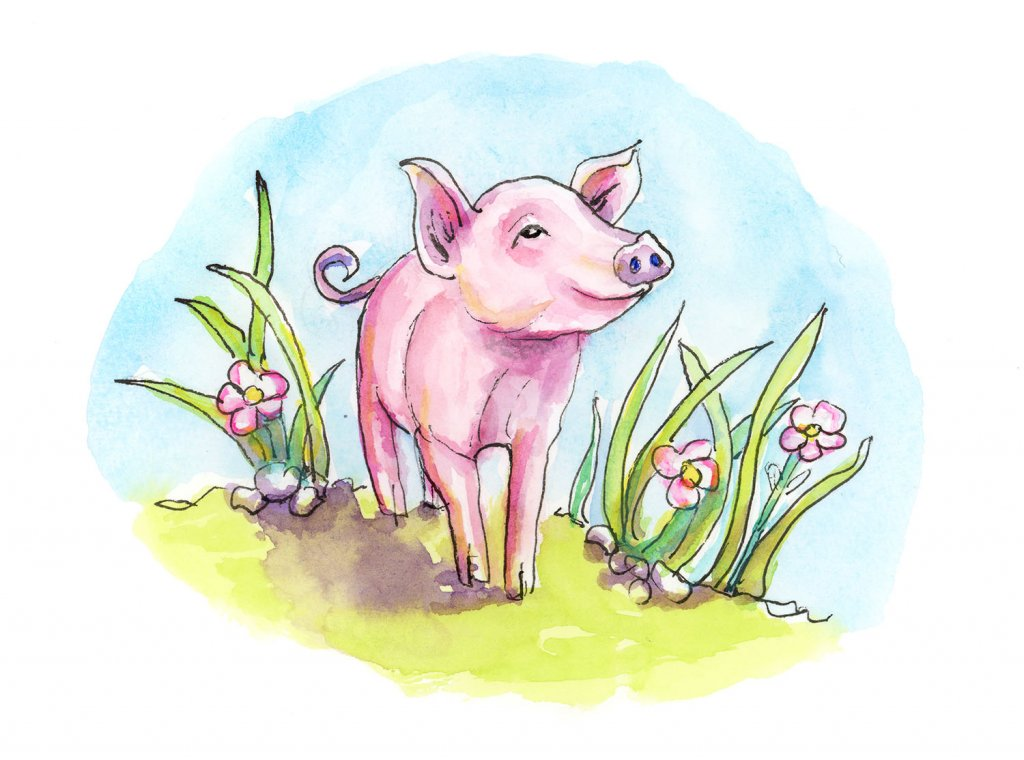 Baby Pig Piglet Spring Watercolor Painting
