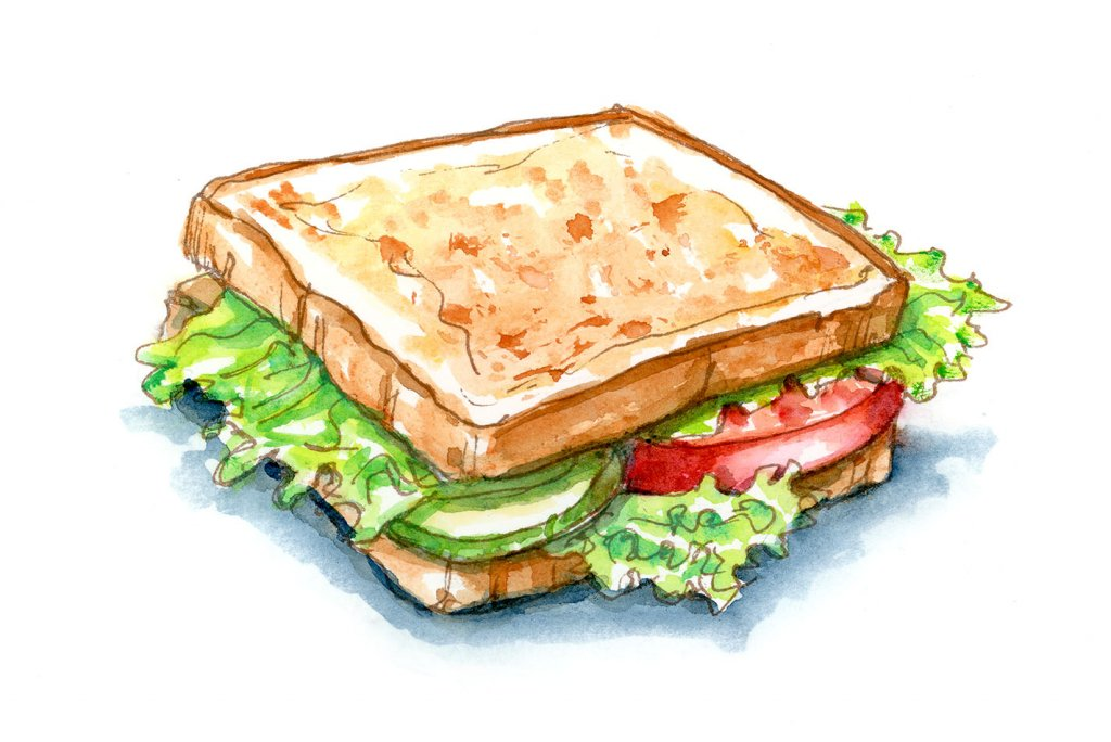 Vegetable Sandwich Tomato Lettuce Cucumber Watercolor Illustration