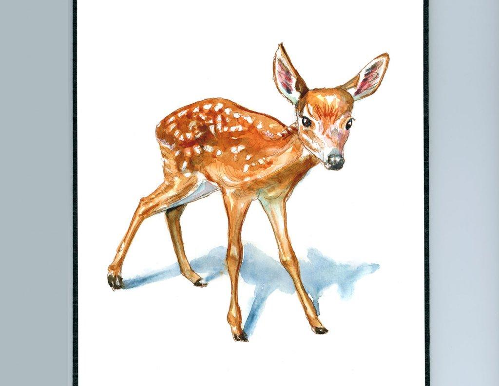 Baby Deer Fawn Watercolor Painting Sketchbook Detail