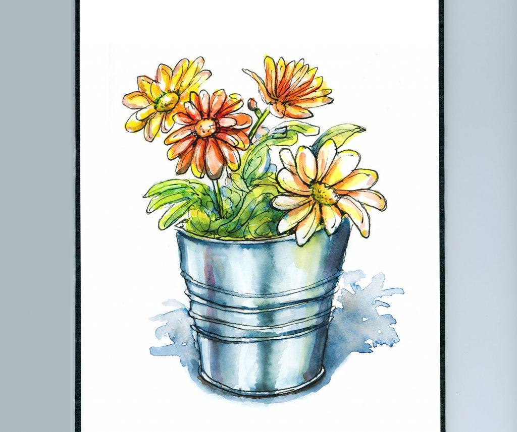 Pot Of Flowers Watercolor Illustration Sketchbook Detail