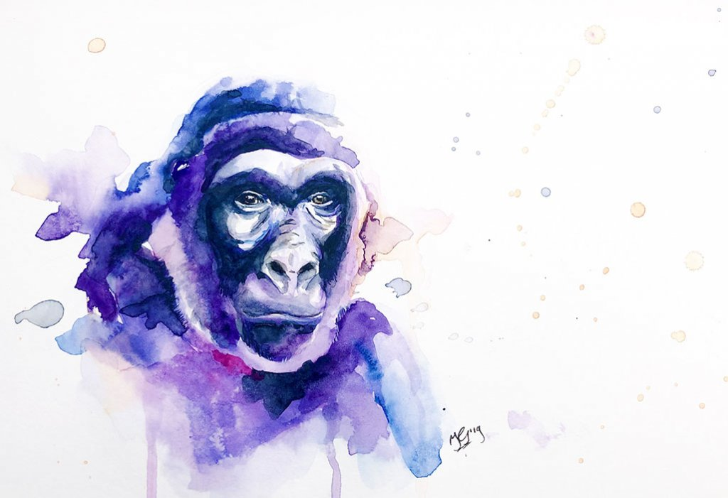 Gorilla Face Watercolor Painting by Irma Rianne