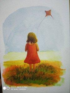 Flying kites. Mixed media on paper. #quarantineDays IMG_20200330_215410