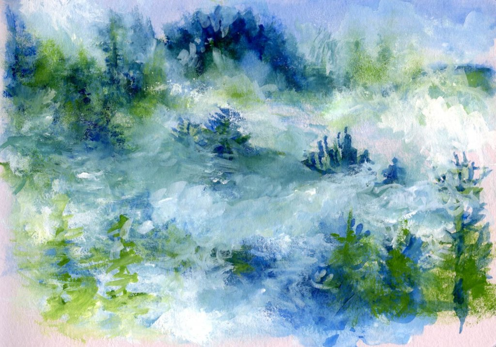 Watercolour painting landscape trees