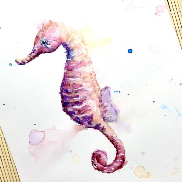 Seahorse Watercolor Painting by Irma Rianne