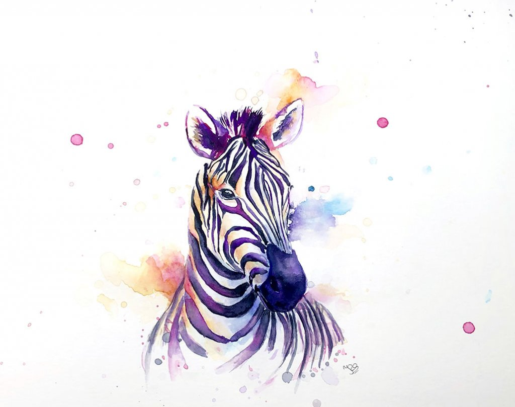 Zebra Head Watercolor Painting