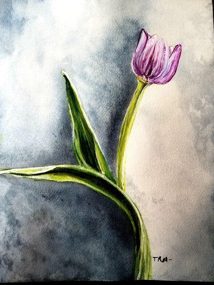 @doodlewashmarch2020 Watercolors Title: Pick Me me tulip